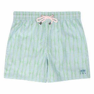 Mens swim trunks : FLAMBOYANT SEED - GREEN designer Lotty B Mustique