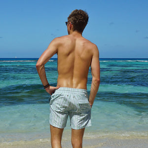 Mens swim trunks : FLAMBOYANT SEED - GREEN designer Lotty B Mustique beach wear