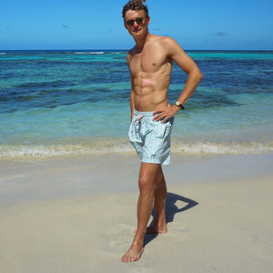 Mens swim trunks : FLAMBOYANT SEED - GREEN designer Lotty B Mustique beach style