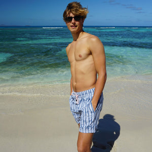 Mens swim trunks : FLAMBOYANT SEED - NAVY designer Lotty B Mustique holiday swim wear
