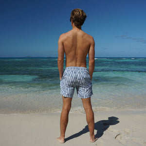 Mens swim trunks : FLAMBOYANT SEED - NAVY designer Lotty B Mustique vacation swim suits