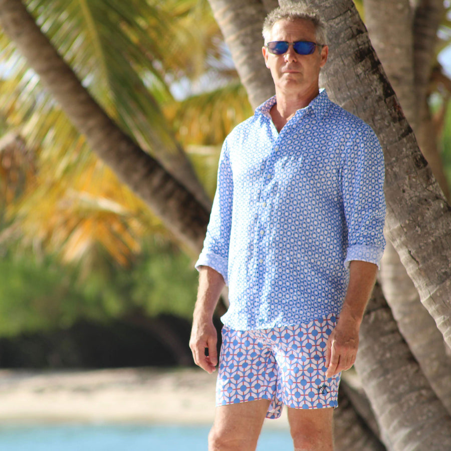 Mens swim trunks : LIFE RING - BLUE / RED designer Lotty B Mustique luxury swimwear