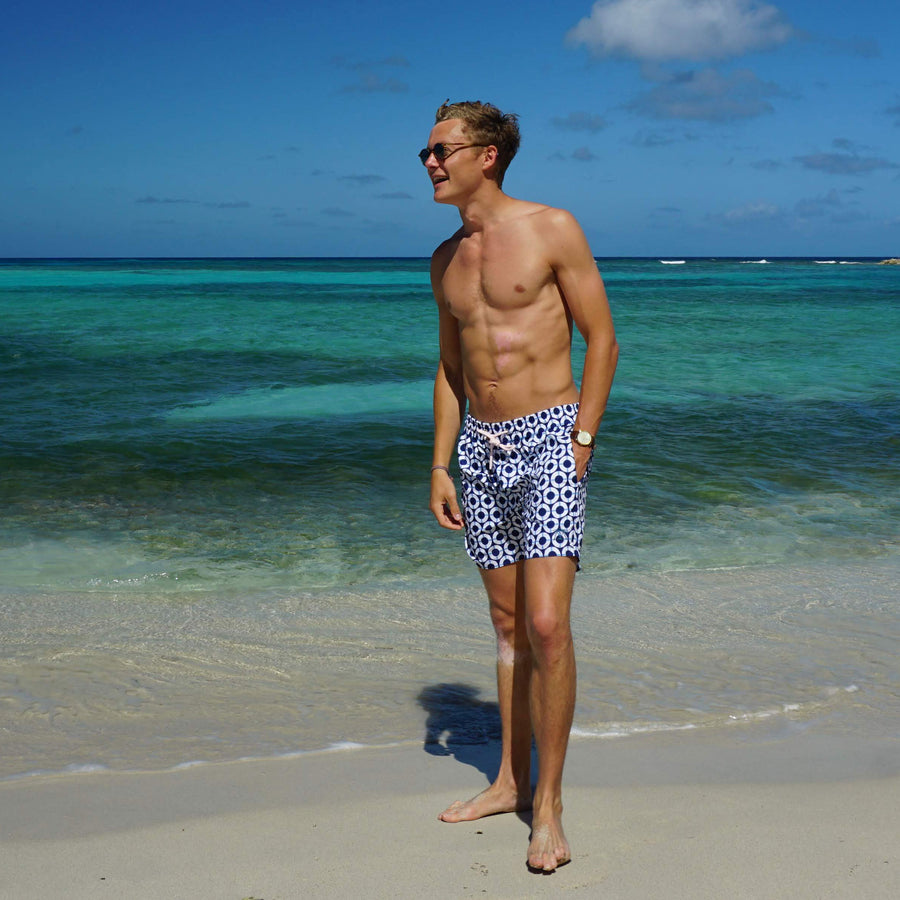 Mens swim trunks : LIFE RING - NAVY designer Lotty B Mustique swimwear