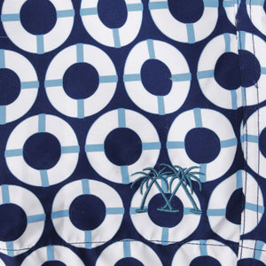 Swim fabric swatch : LIFE RING - NAVY designer Lotty B Mustique fashion
