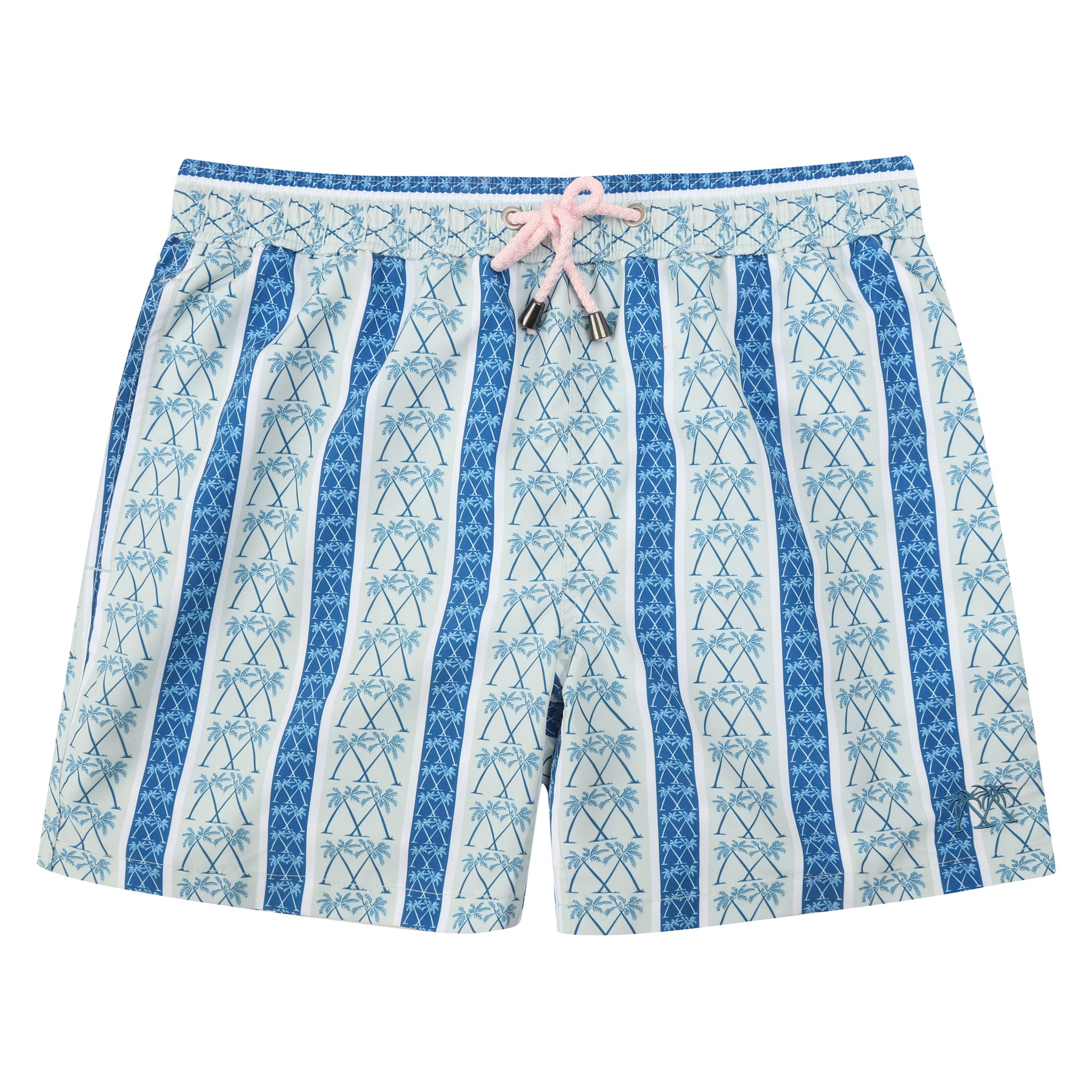 afbe96e1aa Mens swim trunks : PALM STRIPE - NAVY - Pink House Mustique