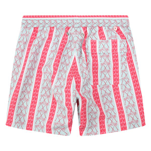 Mens swim trunks : PALM STRIPE - RED, back detail