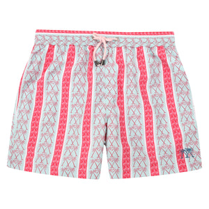 Mens swim trunks : PALM STRIPE - RED