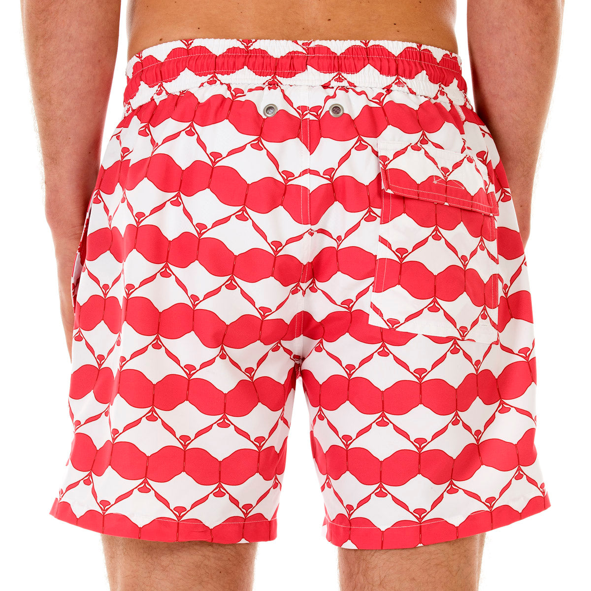 Pink House Mustique Mens swim shorts MANTA RAY RED back