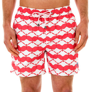 Pink House Mustique Mens swim shorts MANTA RAY RED front