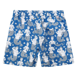 Mens swim trunks : MERMAID - NAVY back detail