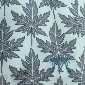 Mens swim trunks : PAPAYA - GREY PALE BLUE print detail