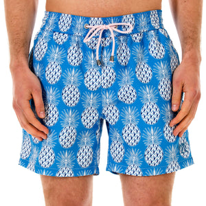 Pink House Mustique Mens swim trunks PINEAPPLE BLUE front