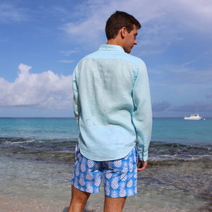 Pink House Mustique Mens swim trunks PINEAPPLE BLUE back