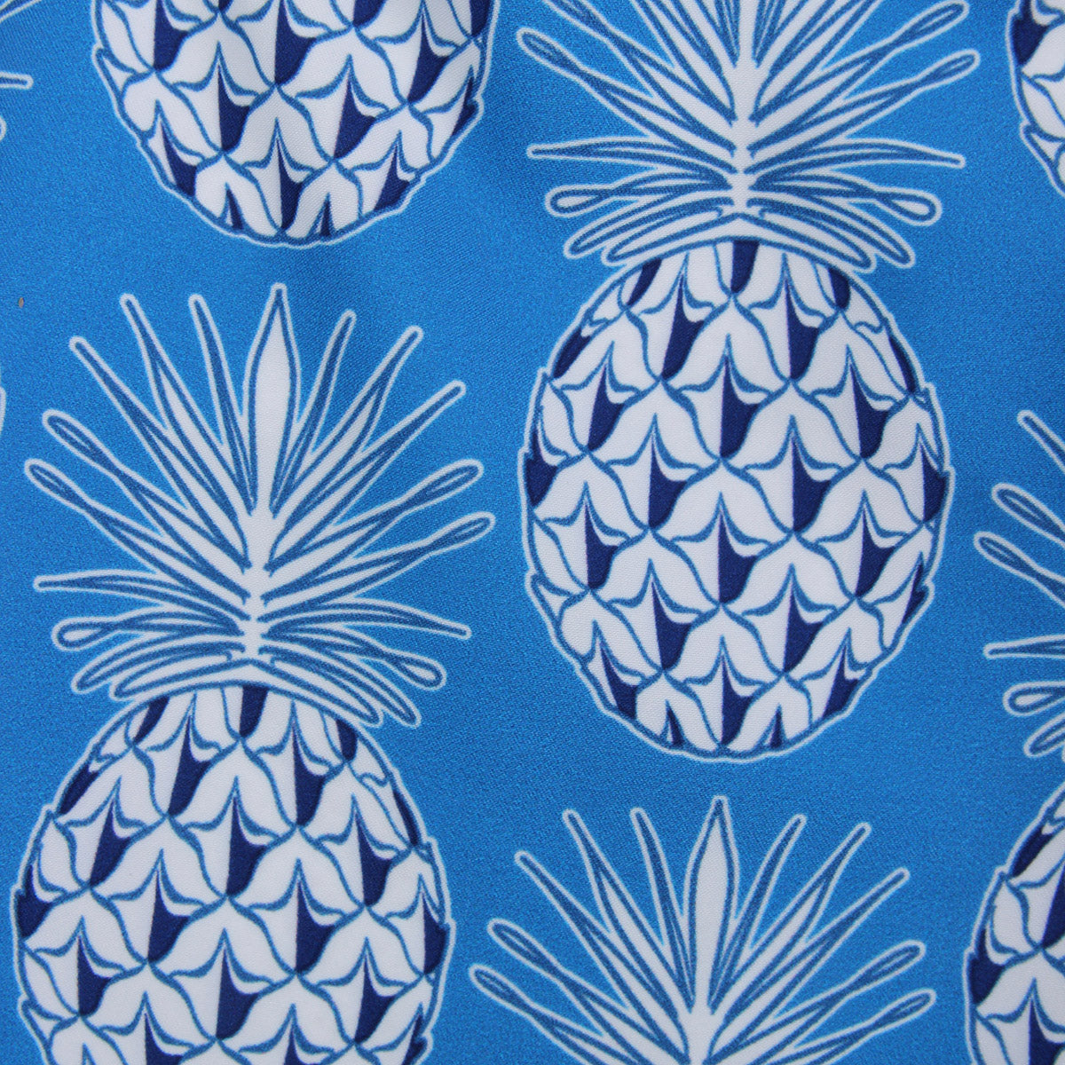 Pink House Mustique swim fabric swatch PINEAPPLE BLUE