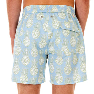 Mens swim trunks : PINEAPPLE - OLIVE back