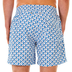 Pink House Mustique Mens swim trunks PINEAPPLE PRICKLES BLUE back
