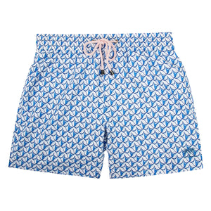 Pink House Mustique Mens swim trunks PINEAPPLE PRICKLES BLUE
