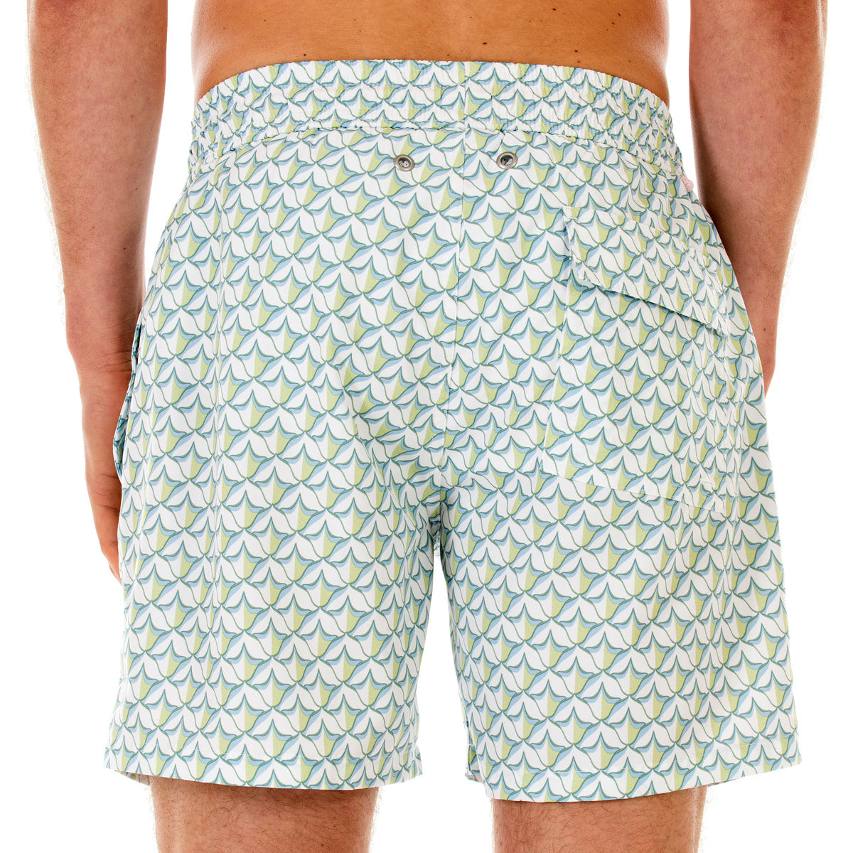 Mens swim trunks : PINEAPPLE PRICKLES - OLIVE back