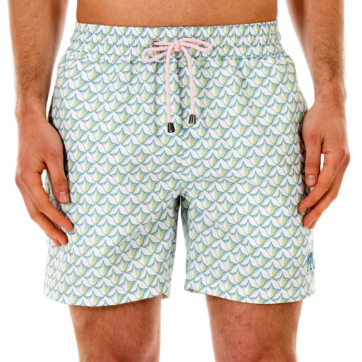 Mens swim trunks : PINEAPPLE PRICKLES - OLIVE front