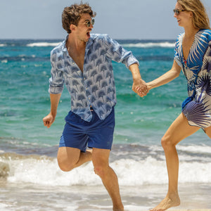 Mens Trunks : REGATTA BLUE, mustique beach life
