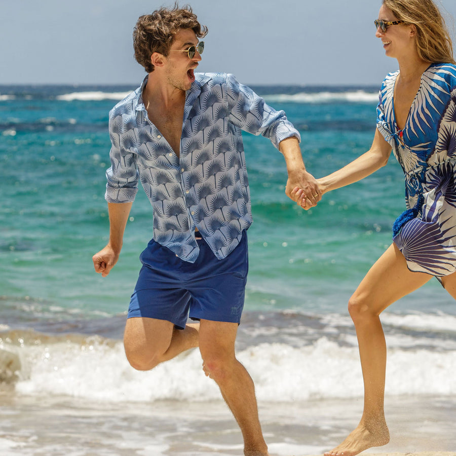 Mens Trunks : REGATTA BLUE designer Lotty B for Pink House Mustique