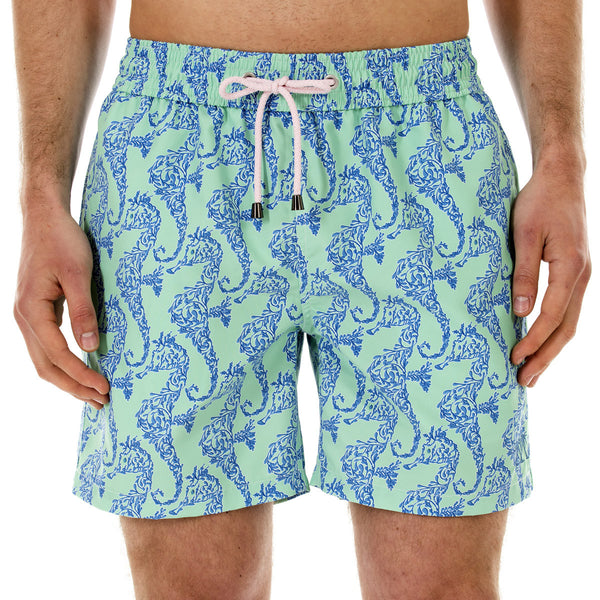 Mens Trunks (Seahorse, Green/Blue) Front