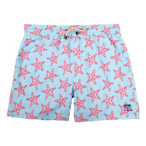 Mens swim trunks : SEASTAR - CORAL/TURQUOISE
