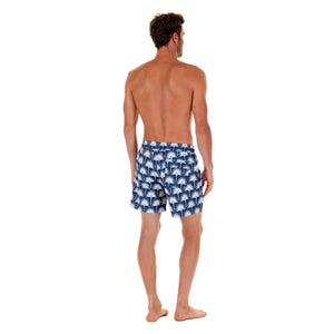Mens swim trunks : FAN PALM - NAVY back