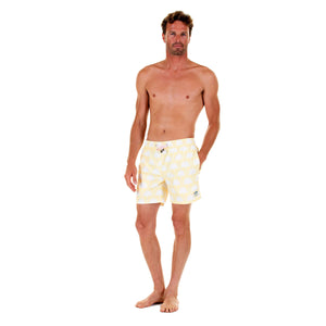 Mens swim trunks : FAN PALM - YELLOW, front