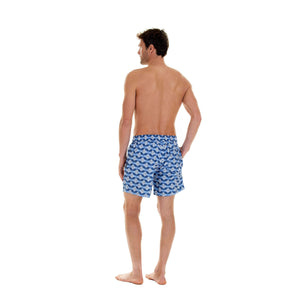 Mens designer swim wear Guava blue print by Lotty B Mustique holiday styles