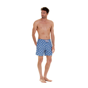 Mens designer swim wear Guava blue print by Lotty B Mustique resort clothing