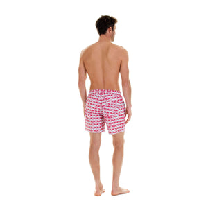 Mens designer swim wear Guava red print by Lotty B Mustique