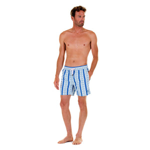 Mens swim trunks : PALM STRIPE - NAVY, front