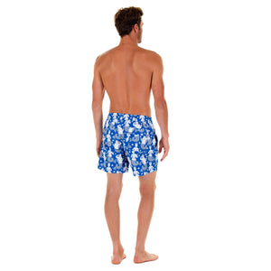 Mens designer swim trunks : MERMAID - NAVY back. Easy Caribbean style