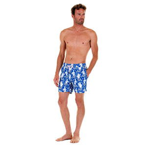 Mens designer swim trunks : MERMAID - NAVY front. Easy Caribbean style