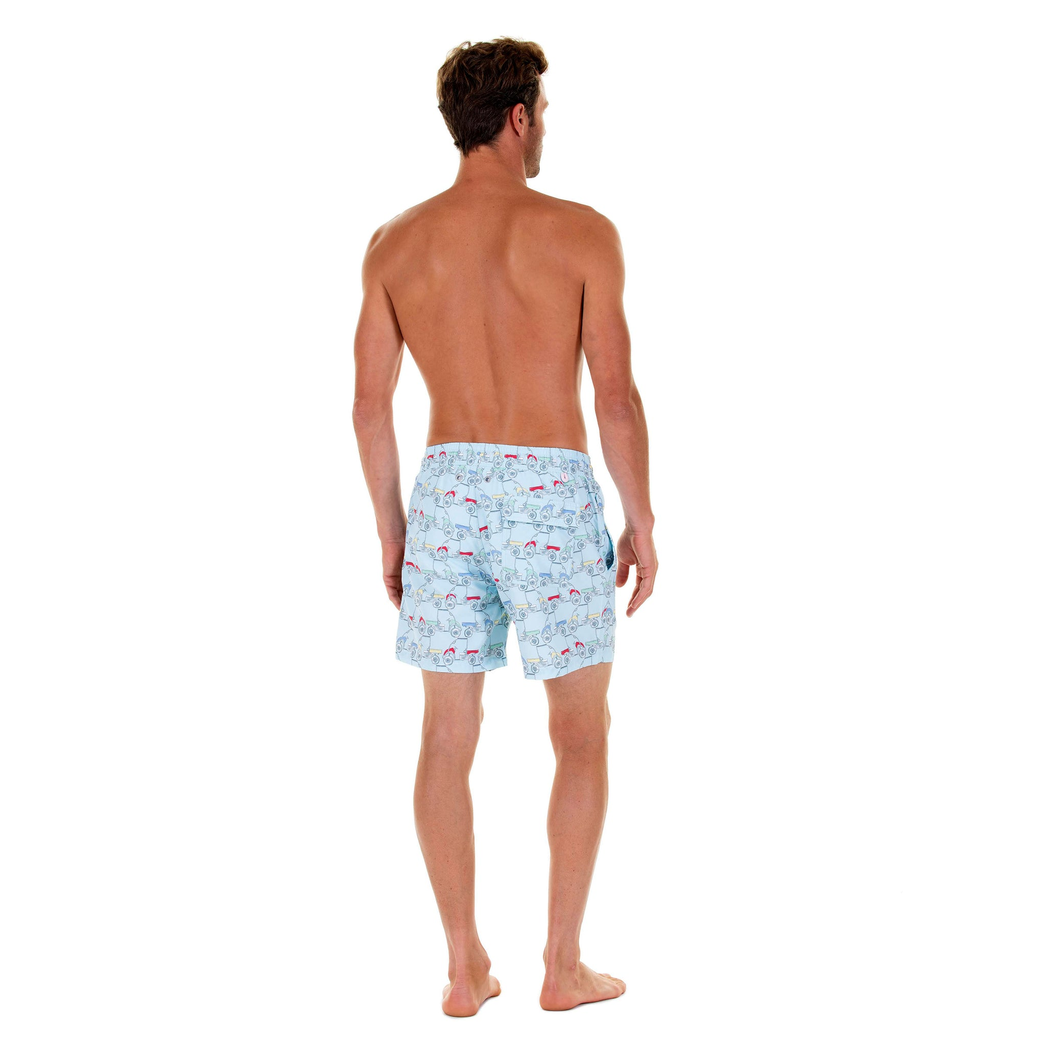 Aluys boutique Mens Swim Trunks Quick Dry Colorful Leaves Printed Holiday Beach Board Shorts with Mesh Lining