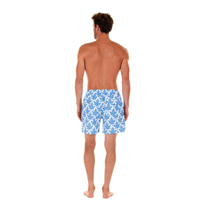 Mens swim trunks : PAPAYA - BLUE, back