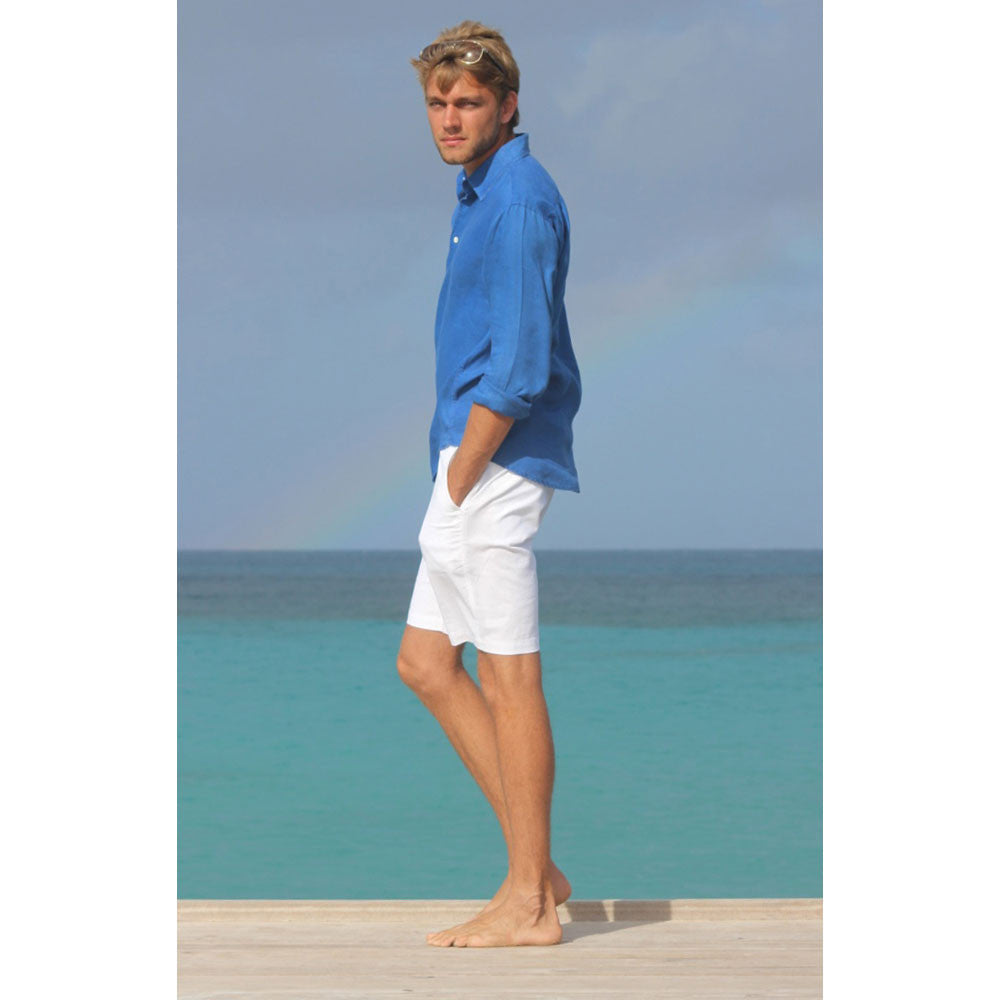 Mens Linen Shorts (White) Side