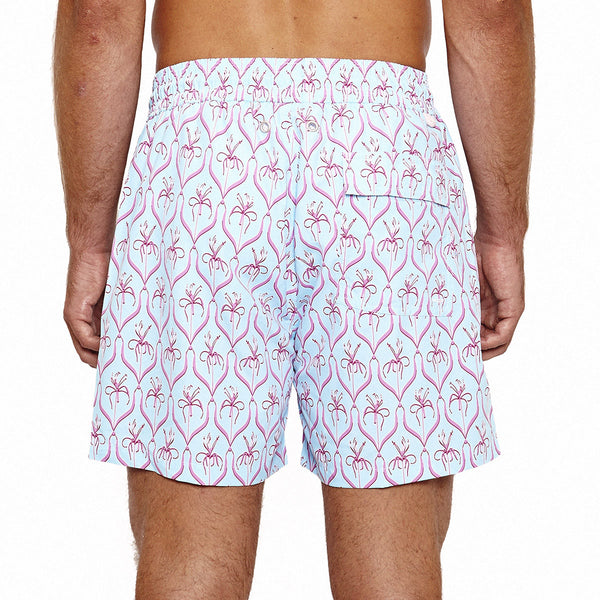 Mens Trunks (Spiderlily Turquoise/Pink) Back