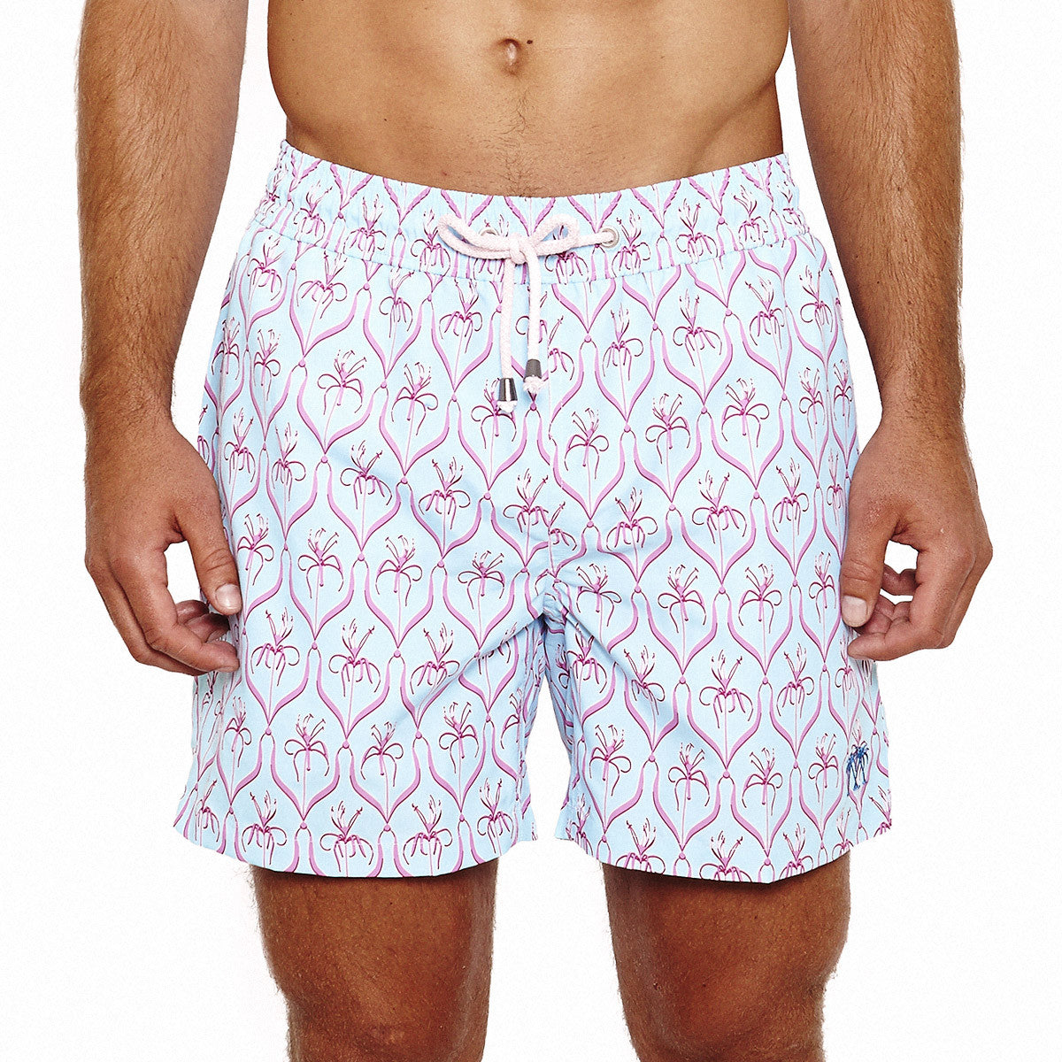 Mens Trunks (Spiderlily Turquoise/Pink) Front