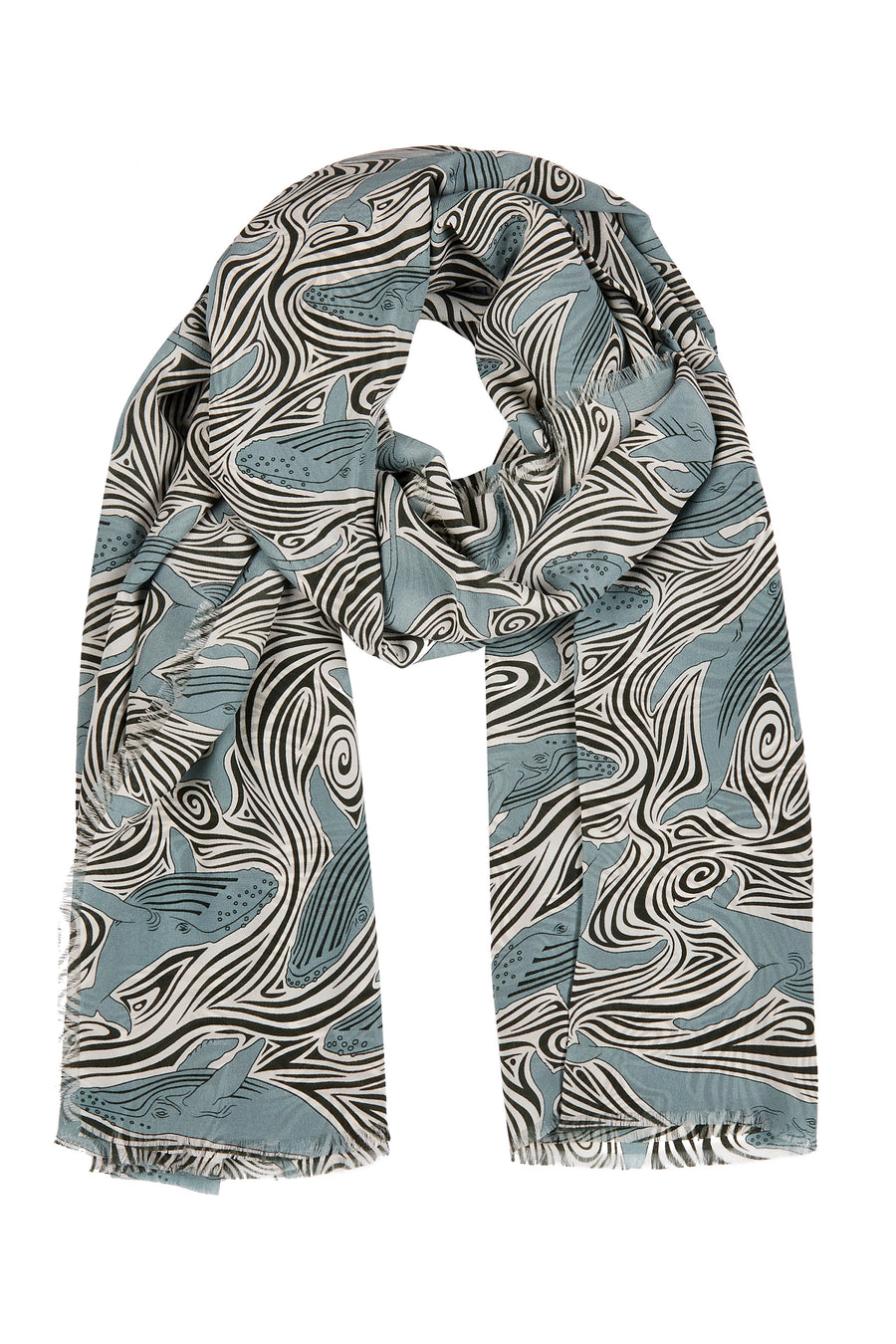 Silk scarf sarong in Whale monochrome design by Lotty B hand screen printed on crepe-de-chine. Mustique island lifestyle.