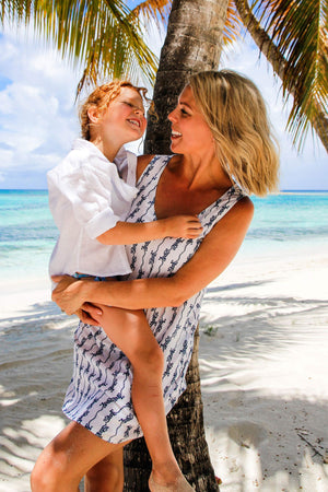 Womens Linen Slip Dress: GECKO - NAVY Pink House Mustique family holiday styles designer Lotty B