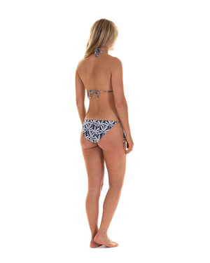 Womens Triangle Bikini : BANANA TREE - NAVY designer swimwear by Lotty B Mustique