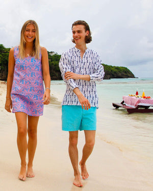 Mens Collarless Linen Shirt: GECKO - NAVY designer Lotty B Mustique holiday style
