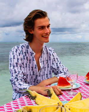 Mens Collarless Linen Shirt: GECKO - NAVY designer Lotty B Mustique vacation style