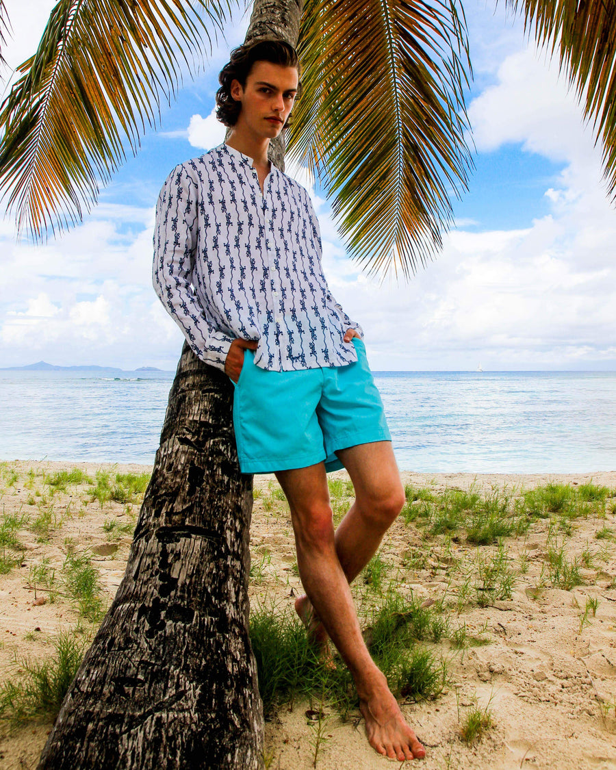 Mens Collarless Linen Shirt: GECKO - NAVY designer Lotty B for Pink House Mustique Resort Wear