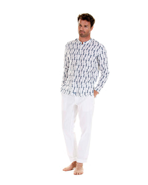 Mens Collarless Linen Shirt: GECKO - NAVY designer Lotty B for Pink House Mustique Mens Resort wear