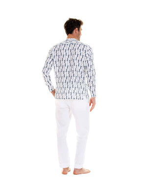 Mens Collarless Linen Shirt: GECKO - NAVY back, designer Lotty B for Pink House Mustique Mens Resort wear