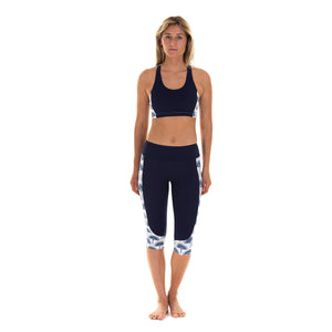 Contour panel cropped leggings : FAN PALM NAVY worn with matching cropped top Designer Lotty B Mustique