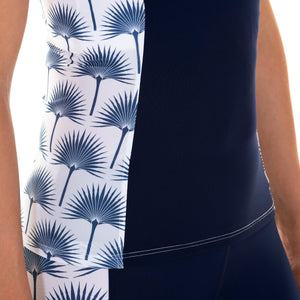 Sports Racer Back Top side detail : FAN PALM NAVY designed by Lotty B Mustique